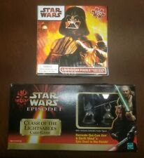 Star Wars Ep I Clash of the Lightsabers Card Game w/ Pewter Figures Vader Puzzle