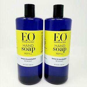 2 EO Essential Oil Lemon & Eucalyptus Be Bright Hand Soap Refill Large 32 oz