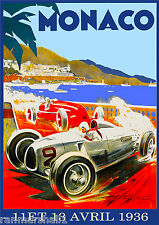1936 8th Monaco Grand Prix Automobile Race Car Advertisement Vintage Poster