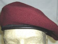 BERET MILITARY STYLE WITH TRIM DRAWSTRING Black,Green,Red,Navy,Maroon ALL SIZES