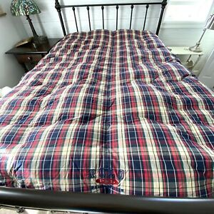 VTG POLO RALPH LAUREN Full Queen Down Comforter Blue Red Plaid Made In USA READ