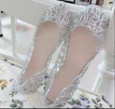 Summer Women Ventilate Crystal Jelly Breath Hollow Sandals Flat Shoes Silver UK7