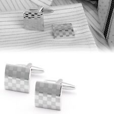 New Luxury Men's Silver Cufflinks Stainless Steel Wedding Party Shirt Cuff Links