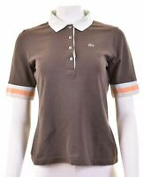 LACOSTE Womens Polo Shirt 1/2 Sleeve EU 44 Large Brown Cotton  JY10