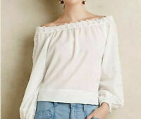Anthropologie Leifsdottir White Peasant Blouse w/Embroidery Size Extra Small NWT