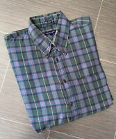 GANT Indigo Twill Cotton Check/Plaid Long Sleeve Shirt Size L Green