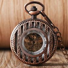 Retro Red Ancient Bamboo Stripe Hand Winding Mechanical Women Pocket Watch Chain