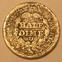 1854 O Seated Liberty Half Dime 5c Arrows Better Date Nice Details Damaged