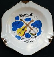 Mid Century White Ashtray Nashville TN Music City Collectible 1960s Gold & Blue