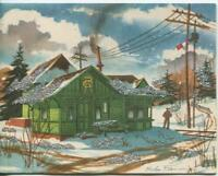 VINTAGE CHRISTMAS MONOGRAM GREEN RAILROAD STATION VERONA NEW YORK GREETING CARD