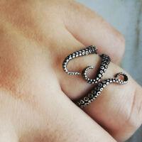 Open Adjustable Octopus Ring Vintage Black Sea Monster Mood Rings Men's Punk S