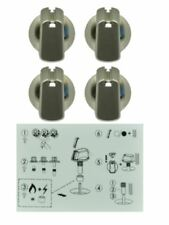 UK-40S4  (4) X Universal Knob Kit Stove, Cooktop 40mm SILVER