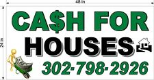2' x 4'  VINYL BANNER CASH FOR HOUSES HOME WITH YOUR PHONE NUMBER WEBSITE