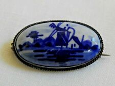 antique BLUE DELFT PIN BROOCH c-clasp windmill silver metal flow blue