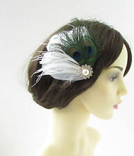 White & Silver Peacock Feather Fascinator Hair Clip Bridal 1920s Blue Green 9AR