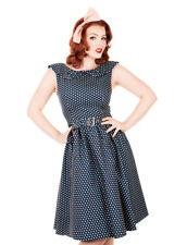 Women's Blue Polka Dot Vintage Swing Dress UK Sizes 10/12/14/16/18/20 1950s