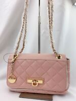 NWT DKNY Small Quilted Nappa Lamb Leather Cross-body Bag Blush $250