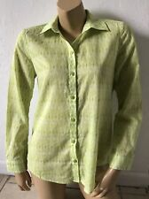 CHICOS Womens Size 0 Sheer Button Front Long Sleeve Shirt Geometric Print