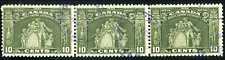 Canada #209 used F 1934 Loyalists Statue 10c olive green Strip of 3 purple CDS