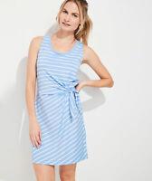 NEW Vineyard Vines Stripe Sankaty Side Tie Tank Dress Hydrangea Light Blue Large