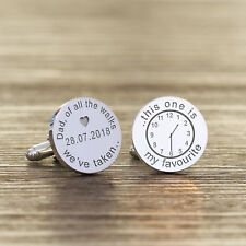 Round Personalised Silver Plated Father of the Bride Wedding Date Cufflink