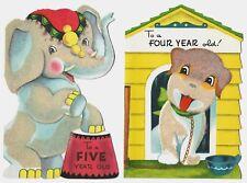 2 Vintage Child Birthday Greeting Cards: Age 4 & 5 year old - Dog, Elephant EXC