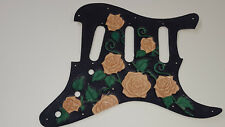Leather pickguard Fender Stratocaster hand tooled and dyed harmony of roses C