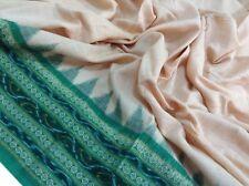 Om Vintage Dupatta 100% Cotton Thread Woven Ivory Scarves Stole Veil W-1483