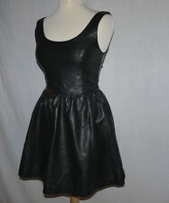 Rétro Vintage h&m DIVIDED imitation Doux Cuir Synthétique Noir Fashion Dress UK 6-8
