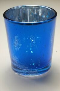Richland - Metallic BLUE Splattered Mercury GLASS Votive Holder NEW FREE SHIP