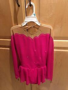 NWOT Sharene Designs Fushia Pink Skatewear Figure Skating Dress, Girls Large