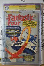 Fantastic Four #3 CGC 7.5 SS Stan Lee 1962 Slight Pro Restore Top 5 signed 1st