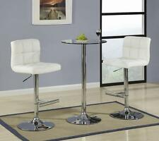 3 Piece Glass Top Bar Table Dining Set with Cream Bar Stool