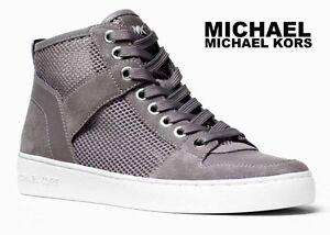 MICHAEL KORS Matty High Top Sneakers Mesh Casual Silver Designer Gray Booties
