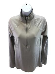 Under Armour Women's Gray HeatGear Metallic Semi-Fitted 1/2 Zip Top Sz M