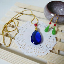 Hauru Blue Diamond Necklace and Earring Set Howl's Moving Castle Cosplay Prop