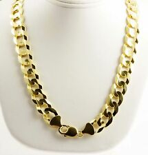 """89.30 gm 14k Yellow Solid Gold Men's Flat Cuban Heavy Necklace Chain 22"""" 12.00mm"""