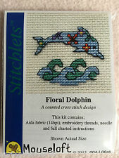 Mouseloft stitchlets Cross Stitch Kit ~ Floral Dolphin ~ nuevo