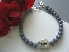 BRAIN CANCER AWARENESS GRAY BEADED HOPE BRACELET W/RIBBON CHARM