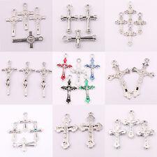 Wholesale 25Pcs Lots Tibet Silver Plain Cross Spacer Charm Pendant Craft 15Style
