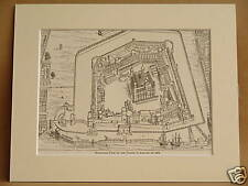TOWER OF LONDON IN 1688 ANTIQUE MOUNTED ENGRAVING FROM c1890 PUBLICATION V RARE