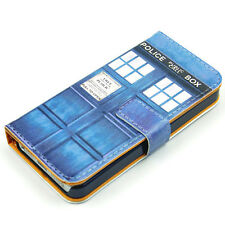 Doctor Who Tardis Police Box Blue Leather Wallet Flip Case Cover For Iphone 5C