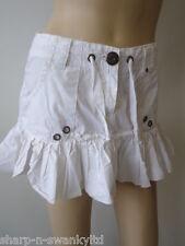 femmes blanc 100% coton mini jupe 8UK 36EU
