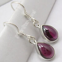 "925 Silver Natural DROP CABOCHON GARNET Earrings 1.1"" Queen's Birthday Gift"