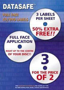 75  Datasafe CD DVD Gloss Full Face 3UP Labels