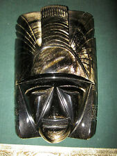 SUPERB OBSIDIAN STONE  MASK WITH FLAKES OF GOLD