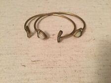 * Chloe + Isabel LUNETTE Open Cuff Bracelet Set of 2 Antique Gold Versatile B261