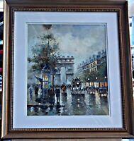 Original Oil by L/A J. Gaston, Arc de Triumph, Paris Street Scene, Framed