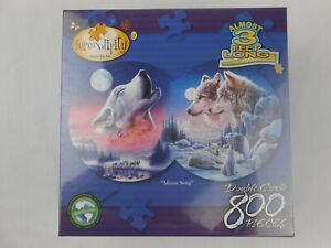 Moon Song Serendipity Double Circle 800 Piece Wolf Jigsaw Puzzle 3 Feet long NEW
