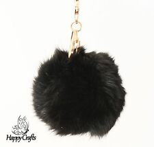 Fluffy Ball Bag Clip Key Ring Black